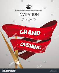 Invitation Card Of Opening Ceremony Grand Opening Invitation Card Scissors Red Stock Vector 300465578