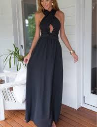 buy a line halter sleeveless navy blue chiffon prom dress with
