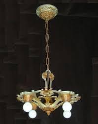 Art Nouveau Chandelier X Vintage 5 Light Bare Bulb Art Nouveau Chandelier By Markel