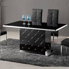 Black Gloss Dining Table And 6 Chairs Levono Glass High Gloss Dining Table In Black With Rhinestone