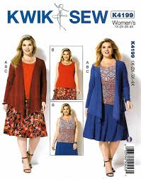 4x Plus Size Clothing Kwik Sew Sewing Pattern 4199 Womens Plus Size 1x 4x Knit Draped