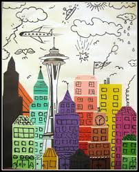 james rizzi skyline with paint chip strips art projects