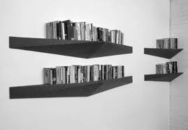 stunning wall bookshelves design come with triangular black modern
