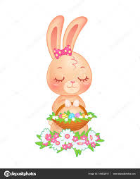 cute easter bunny with basket of eggs in vector u2014 stock