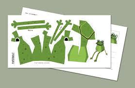 postcard mini frog diy papercraft template size