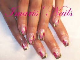 imaris u0027 nails pink acrylics and hand painted nail art archive