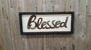 framed word sign rustic metal letters wall art blessed on frame