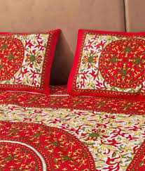 Throw Pillow Covers Online India Rajasthani Bedsheet Red Floral Cotton Bedsheet With 2 Pillow