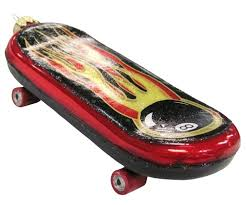 and black with flames skateboard glass