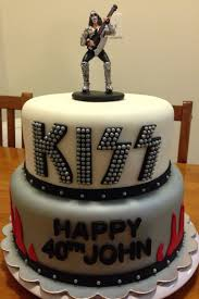 kiss band birthday cake with gene simmons topper sarah u0027s sweet