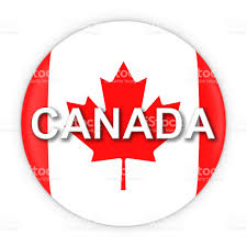 Candaian Flag Canadian Flag Button With Canada Text 3d Illustration Stockfoto