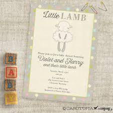 gender neutral little lamb baby shower invitations baby