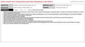 Mri Technologist Resume Stress Test Technician Resume Sample