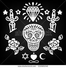 set old tattoo elements roses stock vector 532885261