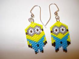 minion earrings handmade delica seed bead two eyed minion earrings bead