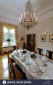 Chandelier Over Table Biedermeierzimmer Or Biedermeier Room With Crystal Chandelier Over