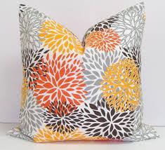 orange gray pillows 16x16 inch decorative pillow cover housewares