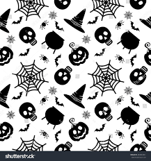 halloween seamless background vector halloween seamless pattern black icons stock vector