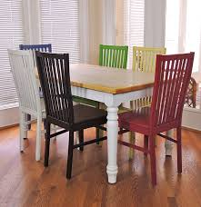 farmhouse kitchen table and six multi colored chairs ebth