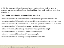 Resume Samples For Professors by Top 10 Math Professor Interview Questions And Answers