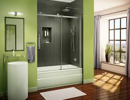 fresh green wall color and wooden floor for amazing bathroom ideas