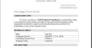 Fresher Resume Objective Examples by Abap Fresher Resume Sample