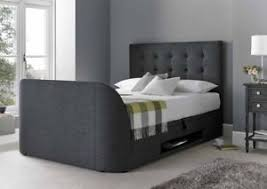 tv bed 4ft6 double ottoman storage slate fabric frame holds up to