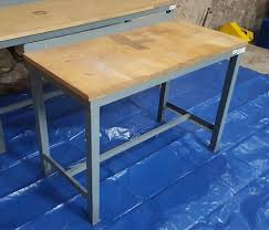 wood top work table heavy duty metal frame wood top work bench workbench workshop table