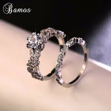set rings round images 90 off bamos female white round ring set luxury 925 silver ring jpg