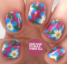 one nail to rule them all gelish one stroke flowers nail art