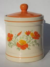 orange poppies kitchen canisters set and breadboard 70s vintage