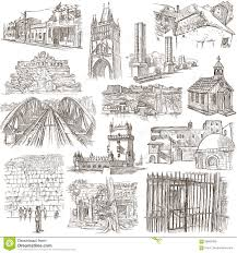architecture freehand sketching pack stock illustration image