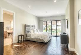 contemporary master bedroom with hardwood floors by green st