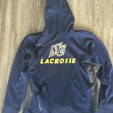 nike merrimack college hoodie large used lacrosse apparel