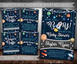 outer space baby shower invitation set planet baby shower