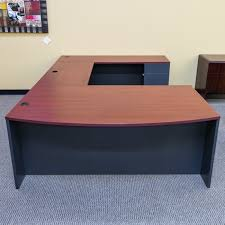 U Shaped Office Desk Used Right U Shaped Office Desk Gray Mahogany Deu1546 004
