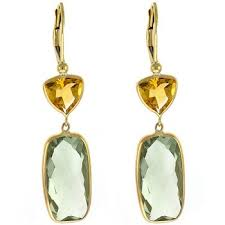 green amethyst earrings green amethyst citrine drop dangle earrings 14k yellow gold