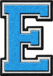 e presentation alphabets light blue varsity letter e