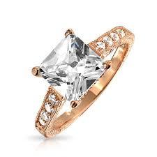 princess cut 3 engagement rings pave band gold vermeil princess cut cz engagement ring 3 ct