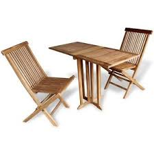 teak 3 piece wood wooden balcony folding table chair set patio