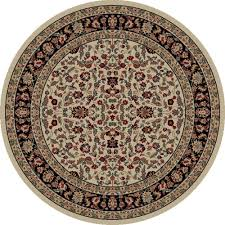 3 Round Area Rugs by Concord Global Trading Persian Classics Kashan Black 5 Ft 3 In