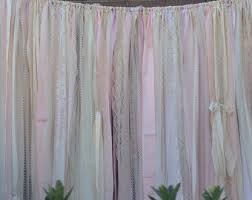 wedding backdrop curtains blush backdrop pink ivory wedding fabric lace rag garland