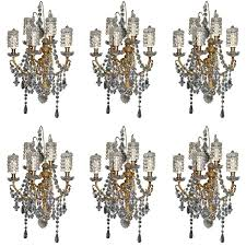 Crystal Wall Sconces Set Of Six Antique Louis Xvi Style Gilt Bronze And Cut Crystal