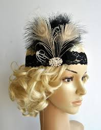 gatsby headband flapper lace rhinestone feather headband the great gatsby