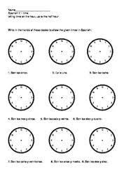 que hora es worksheet worksheet telling time in spanish worksheets