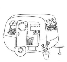cute trailer caravan colouring page colouring for adults