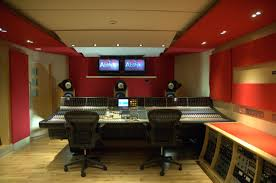 interior stylish home music studio design with brick wall and
