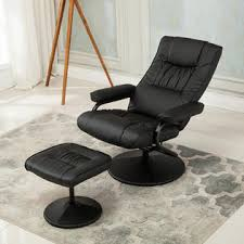 Recliner Chair With Ottoman Belleze Modern Black Bonded Leather Soft Recliner Chair And
