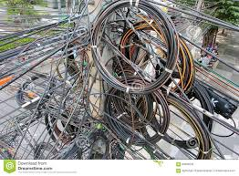 Messy Wires Tangle Chaos Messy Of Electric Cable Stock Photo Image 60035020