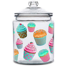 cupcakes glass kitchen canister glass lid 128 oz jars dr oz